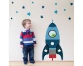 Individuelle Rakete Wandtattoo von Stickerscape - Wandaufkleber (Blau, Großes Größe)