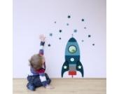 Individuelle Rakete Wandtattoo von Stickerscape - Wandaufkleber (Blau, Reguläres Größe)