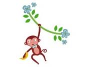 Dschungel Affen Rebe (Einzige) Wandtattoo von Stickerscape - Wandaufkleber (Großes Größe)