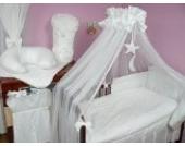 Lux4Kids Kinderbettausstattung Bett Set 135x100 Nestchen Wickelauflage Himmel & Stange Mobile Kopfkissen Spannbettlacken 09 Mond Weiß