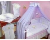 Lux4Kids Kinderbettausstattung Bett Set 135x100 Nestchen Wickelauflage Himmel & Stange Mobile Kopfkissen Spannbettlacken 08 Mond Lila