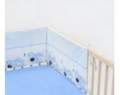 Babybett-Nestchen Bettnestchen Nestchen Babynestchen Bettumrandung ca. 30x180 (Muster: Hund mit Knochen_puderblau)