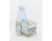 13-tlg. Baby-Bettwäsche-Set Bettzeug Bettbezug Bettgarnitur für Babybett 70x140 (Muster: Hund mit Knochen_puderblau)