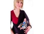 Baby-Tragetuch - kein Wickeln und Binden - Flexibler Stretchstoff - Gruen Größe S