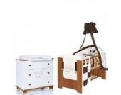 ELEFANT Babyzimmer Möbel Komplettset mit Kinderbett 120x60 Wickelkommode 9 teiligen Bettwäsche Set braun weiss