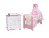 PRINZESSIN rosa Babyzimmer Möbel Komplettset für Mädchen mit Kinderbett 120x60 Wickelkommode 9 teiligen Bettwäsche Set weiss