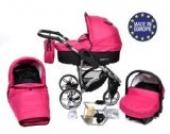 Allivio - 3 in 1 Reisesystem einschließlich Kinderwagen mit schwenkbaren Rädern, Kinderautositz, Buggy und Zubehör, Schwarz und Rosa