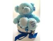 Elfenstall Windeltorte/Pamperstorte mit Spielzeug Teddy Teddybär in blau und Schnullertkette als tolles Geschenk/Baby Geschenkset zur Geburt oder Taufe auf Wunsch mit Name des Babys (Teddy Junge)