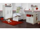 Komplett Kinderzimmer MAREN, 3-tlg. (Kinderbett, Wickelkommode breit und 3-türiger Kleiderschrank mit offenem Fach), Weiß Gr. 70 x 140