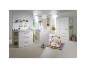 Komplett Kinderzimmer CAMBINO CITY, 3-tlg. (Kinderbett, Wickelkommode und 2-türiger Kleiderschrank), Weiß & farbige Griffhinterlegung Gr. 70 x 140