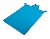 Walser 26014 Froggy Kinderdecke, Kuscheldecke, Schmusedecke, Plüschdecke mit Kapuze und Handschuhen, blau 130 x 100 cm