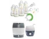 MAM Set - Startset - Babykostwärmer Sterilisier Flaschenset Premium groß - IVORY - + gratis Schmusetuch Löwe Leo