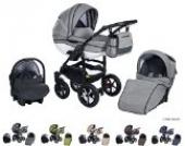 Clamaro 'Ecco Linen' 3in1 Kombi Kinderwagen aus Aluminium im Leinen Design mit Babywanne, Sport Buggyaufsatz, Clamaro Babyschale (ISOFIX), Silber
