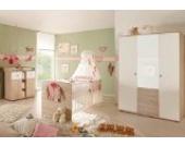 Babyzimmer WIKI 5 in Eiche Sonoma/Weiß - 3-tlg Babymöbel komplett Set mit grossem Schrank mit Spiegeltür, Babybett, Lattenrost und Wickelkommode mit Wickelaufsatz