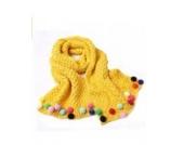 Ayouyou Herbst Winter Mode Mädchen Gestrickte Warme Bonbonfarbenen Schal mit Fransen Schal (Gelb)