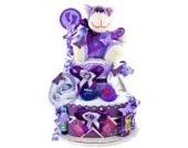 Windeltorte / Pamperstorte > Babygeschenk für Jungen in schönem Violett-Lilaton // Geschenk zur Geburt, Taufe, Babyparty // originelles und praktisches Geschenk für Babys