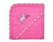 Wörner Kapuzenbadetuch Pferd Frottier pink Größe 100x100 cm