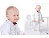 SWEET MOMENT`s Nr. 204 EDLER Taufanzug Anzug-Set 6-teilig WEISS Gr��e: 62-104