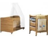 Pinolino 092302 - Sparset Ole, 2-teilig mit Wickeltisch und Kinderbett (ohne Textilien)
