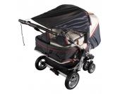 Sonnensegel Zwillingswagen, UPF 50+ Schutz, schwarz Kinder
