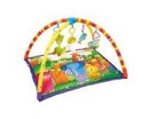 """Krabbeldecke """"Urwald"""" mit Spielbogen, kuschelweiche und farbenfrohe Erlebnisdecke für Babys, biegsame Bügel mit Druckknöpfen, ideal für unterwegs"""
