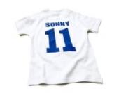 Nappy Head Individuelles Baby/Kinder-T-Shirt - Weiß mit kurzen Ärmeln (Fußballhemd),0-6 Monate