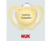 Nuk Starlight Namensschnuller - Schnuller mit Namen - 3 Stück - Latex - Gr 2 - buttergelb
