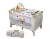 Tectake Kinderbett Kinderreisebett Babyreisebett Klappbett höhenverstellbar mit Babyeinlage BEIGE