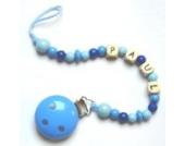 Schnullerkette mit Namen hellblau, Schnullerkette mit Namen Junge, Geschenke Geburt, kleine Geschenke, Baby Geschenke Geburt