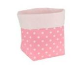 Sugarapple Utensilo Stoff Aufbewahrungsbox aus Baumwolle 19 x 13,5 x 13,5 cm, Stoffbox fürs Bad, als Wickeltisch Organizer oder Windelspender Korb, Punkte rosa