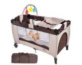 TecTake Kinder Reisebett höhenverstellbar mit Wickelauflage - diverse Farben - (Kaffeebraun | Nr. 400466)