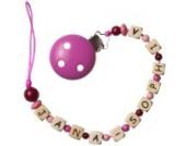 Schnullerkette mit Namen rosa, Baby Schnullerhalter mit Wunschnamen, Mädchen Geschenke, Babygeschenke zur Geburt, Taufe Mädchen