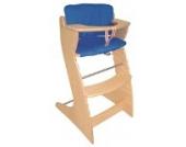 roba Treppenhochstuhl 'Chair Up ', mitwachsender Hochstuhl für Babys und Kinder inkl. blauem Canvas Sitzverkleinerer, Kinderhochstuhl aus Holz, natur