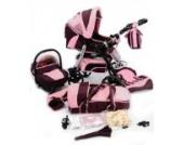 Best For Kids KINDERWAGEN MIT NEUSTER TECHNIKENTWICKLUNG SPORTWAGEN PRINCE TRIO KOMBI KOMBIKINDERWAGEN 3-in-1 - SYSTEM; AUTOSITZ; SCHWENKRÄDER (MEGASET über 25 - Teile; 16 Farben) + GRATIS [Pinky-Pinky]