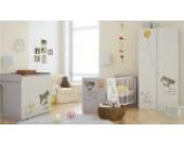 Babyzimmer Set Kinderzimmer ELEGANCE mit Girl-Grafiken Babymöbel komplett 4 teilig Kleiderschrank 2-türig Babybett Wickelkommode Wandregal
