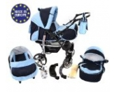 Sportive X2-3 in 1 Reisesystem einschließlich Kinderwagen mit schwenkbaren Rädern, Kinderautositz, Buggy und Zubehör (3 in 1 Reisesystem, Marineblau, Blau)