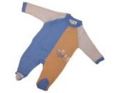 Baby Schlafanzug einteilig mit Fuß Hellblau/Beige/Gestreift Größe 62/68