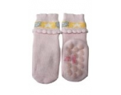 Weri Spezials Vol-Frotee Baby-ABS Soeckchen mit einer 3-D Ruesche in h.Rosa, Gr.16-17 (6-9 Monate)