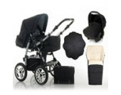 "17 teiliges Qualitäts-Kinderwagenset 5 in 1 ""FLASH"": Kinderwagen + Buggy + Autokindersitz + Schirm + Winterfussack – all inklusive Paket in Farbe RED-DAISY"