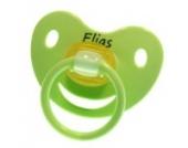 3 Stk. Namensschnuller ELIAS / Größe 1 (0-6 Monate) / Kieferform / Latex / farblich sortiert (hellblau / grün / blau)