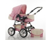 "14 teiliges Qualitäts-Kinderwagenset 2 in 1 ""FLASH"": Kinderwagen + Buggy - Megaset – all inklusive Paket in Farbe ROSA-CREME"
