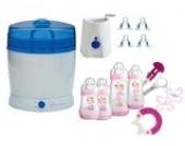 MAM Set 3 - Startset - Flaschen Sauger Sterilisator Flaschen- & Babykoster 22 tlg. - Rosa + gratis Schmusetuch Löwe Leo
