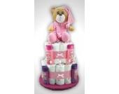 Große Windeltorterosa Bär - mit rosa Teddybär - das perfekte Geschenk zur Geburt oder Taufe + gratis Kärtchen mit Grußbotschaft