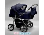 Akjax Gemini Zwillingskinderwagen - Geschwisterwagen - Zwillingsbuggy - Babyschale - Nr.14 dunkelblau / dunkelblau