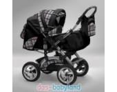 Akjax Traper 3in1 Kombikinderwagen - Kinderwagen - Buggy mit Babyschale Farbe Nr.04 schwarz / karo grau